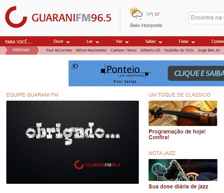Site da Guarani FM, em 28/04/2015.