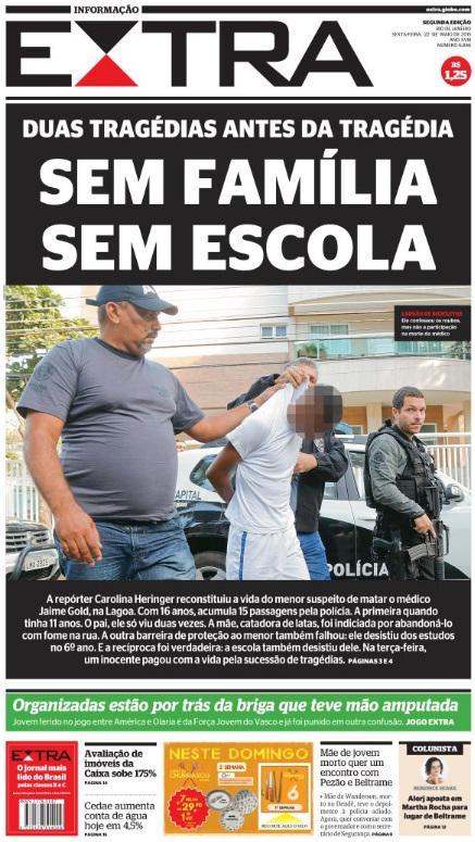 Capa do Jornal Extra sobre um dos menores que mataram o médico na Lagoa.