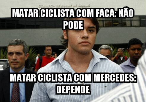 Meme que circulou nas redes sociais sobre a desigualdade de punições relacionadas a mortes de ciclistas. Fonte: Google+