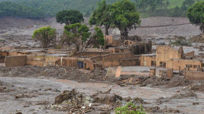 O distrito de Bento Rodrigues, arrasado pela lama das barragens. Fonte: BBC