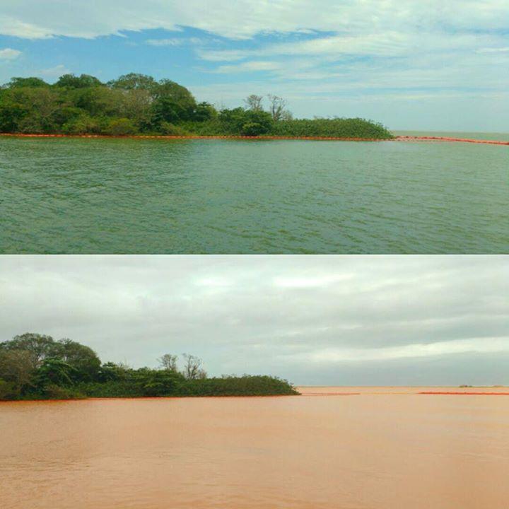 Foz do Rio Doce em Regência (Linhares/ES), nos dias 21 e 22/11/2015, respectivamente. Fonte: facebook.com/quebrandootabu