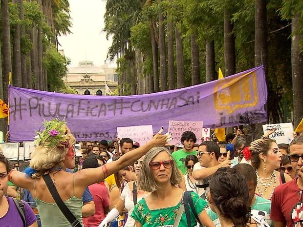 Mulheres contra Cunha em Belo Horizonte. Fonte: G1