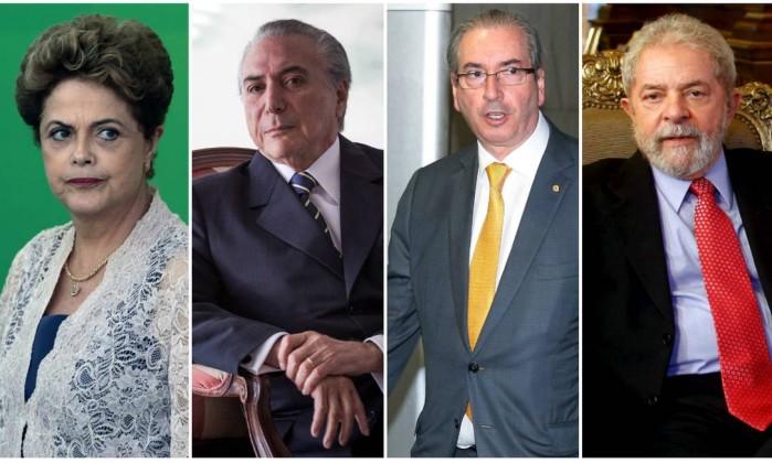 Dilma, Temer, Cunha e Lula. Fonte: Globo.com