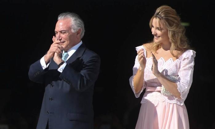 Marcela Temer ao lado do marido na posse de Dilma Rousseff e Michel Temer, em 2015. Fonte: O Globo